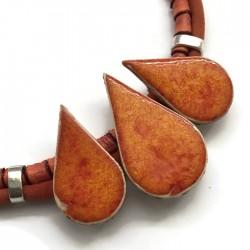 Naszyjnik z ceramiki KROPLA pomarańczowy