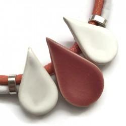 Naszyjnik z ceramiki KROPLA biało różowy