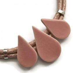 Naszyjnik z ceramiki KROPLA jasny różowy