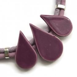 Naszyjnik z ceramiki KROPLA fioletowy