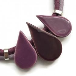 Naszyjnik z ceramiki KROPLA ciemny fiolet