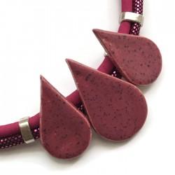 Naszyjnik z ceramiki KROPLA ciemny różowy