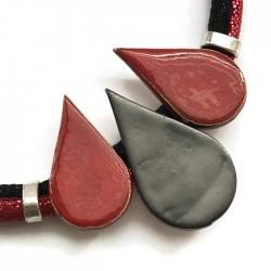 Naszyjnik z ceramiki KROPLA czerwono - czarny