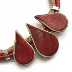 Naszyjnik z ceramiki KROPLA czerwony z beżem