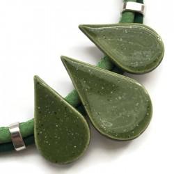 Naszyjnik z ceramiki KROPLA zielony