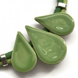 Naszyjnik z ceramiki KROPLA zielony jasny