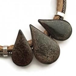 Naszyjnik z ceramiki KROPLA brązowy brokatowy