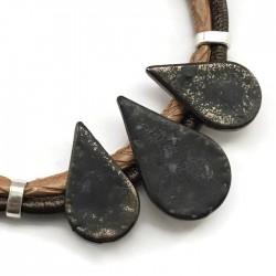 Naszyjnik z ceramiki KROPLA brąz mat
