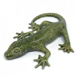 Gekon jaszczurka z ceramiki, zielona