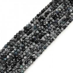 Agat kulka 4mm czarno-niebieski sznurek