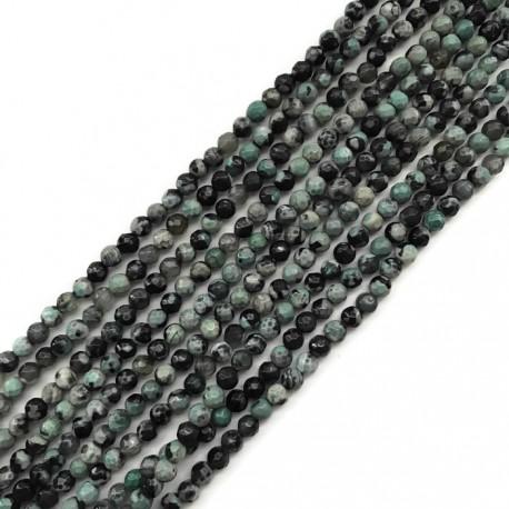 Agat kulka 4mm czarno-zielony sznurek