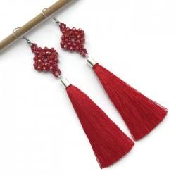 Kolczyki wyplatane ze szkła z chwostem, czerwone