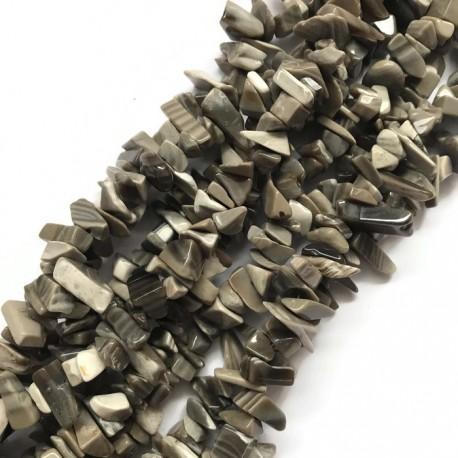 Krzemień pasiasty sieczka 8x4mm sznurek 75 cm