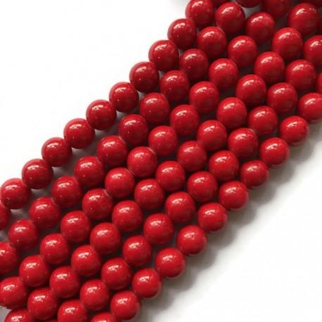 Jadeit kulka 4mm czerwony