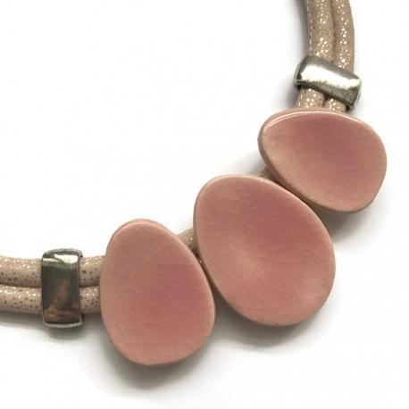 Naszyjnik z ceramiki OWAL róż