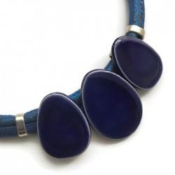 Naszyjnik z ceramiki OWAL szafirowy