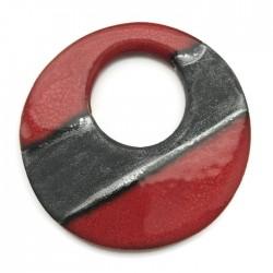 Ceramiczna zawieszka wisior donut czerwona 75mm