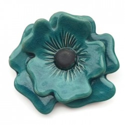 Ceramiczny kwiat turkus, zawieszka wisior do biżuterii 70-80mm