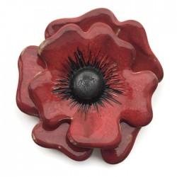 Element ceramiczny kwiat czerwony, zawieszka wisior do biżuterii 70-80mm