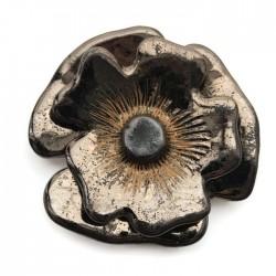 Element ceramiczny kwiat złoty, zawieszka wisior do biżuterii 70-80mm