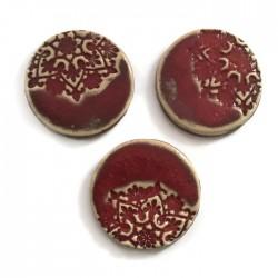 Kaboszon ceramiczny, koło 30mm czerwony, okrągły