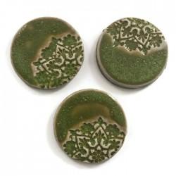Kaboszon ceramiczny, koło 30mm zielony, okrągły