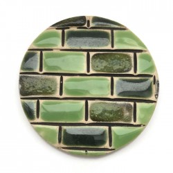 Kaboszon ceramiczny, koło 50mm róż, zielony murek