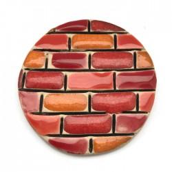 Kaboszon ceramiczny, koło 50mm róż, czerwony murek