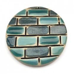 Kaboszon ceramiczny, koło 50mm, turkusowy murek