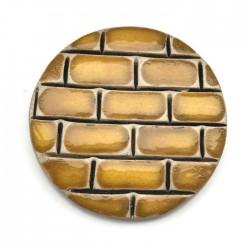 Kaboszon ceramiczny, koło 50mm, żółty murek