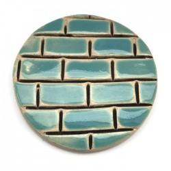 Kaboszon ceramiczny, koło 50mm, błękitny murek
