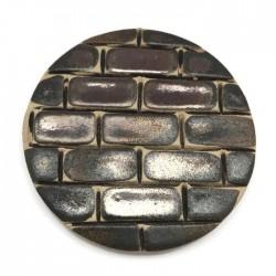 Kaboszon ceramiczny, koło 50mm, brązowy murek