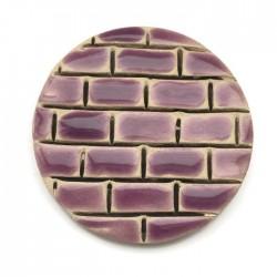 Kaboszon ceramiczny, koło 50mm, fioletowy murek