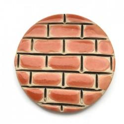 Kaboszon ceramiczny, koło 50mm, pomarańczowy murek