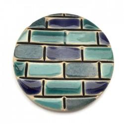 Kaboszon ceramiczny, koło 50mm, niebieski murek