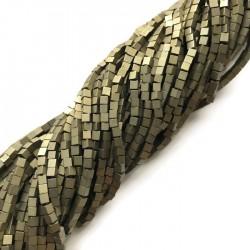 Hematyt kostka 2x2mm brąz sznurek