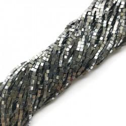 Hematyt kostka 2x2mm srebrny sznurek