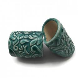 Tunel ceramiczny wałek rurka z ceramiki turkus ze wzorem