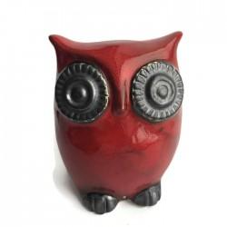 Sowa skarbonka z ceramiki, tradycyjna skarbonka, czerwona