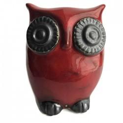 Sowa skarbonka z ceramiki duża tradycyjna skarbonka, czerwona