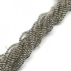 Hematyt kulka 2mm fasetowany jasno srebrny sznurek