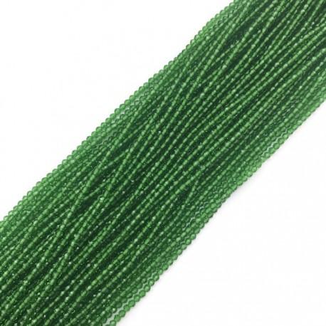 Kwarc kulka fasetowana 2mm sznurek zielony