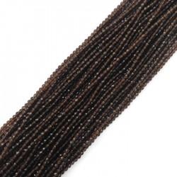 Kwarc kulka fasetowana 2mm sznurek brązowy
