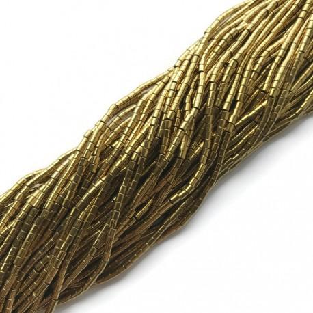 Hematyt wałek 2x2mm złoty sznurek
