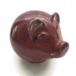 Świnka skarbonka z ceramiki, tradycyjna skarbonka, czerwona