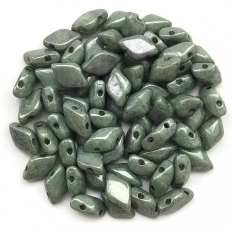 GemDuo koraliki czeskie Luster Green 8x5mm