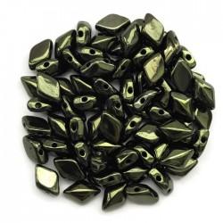 GemDuo koraliki czeskie Luster Metalic Olivine 8x5mm