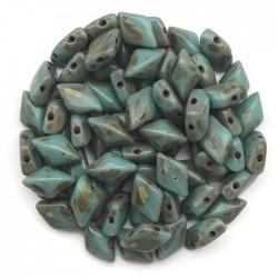 GemDuo koraliki czeskie Blue Turquoise Picasso 8x5mm