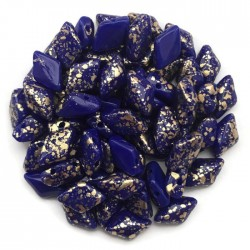 GemDuo koraliki czeskie Gold Splash Opaque Blue 8x5mm