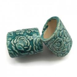 Tunel ceramiczny wałek rurka z ceramiki turkusowy róże
